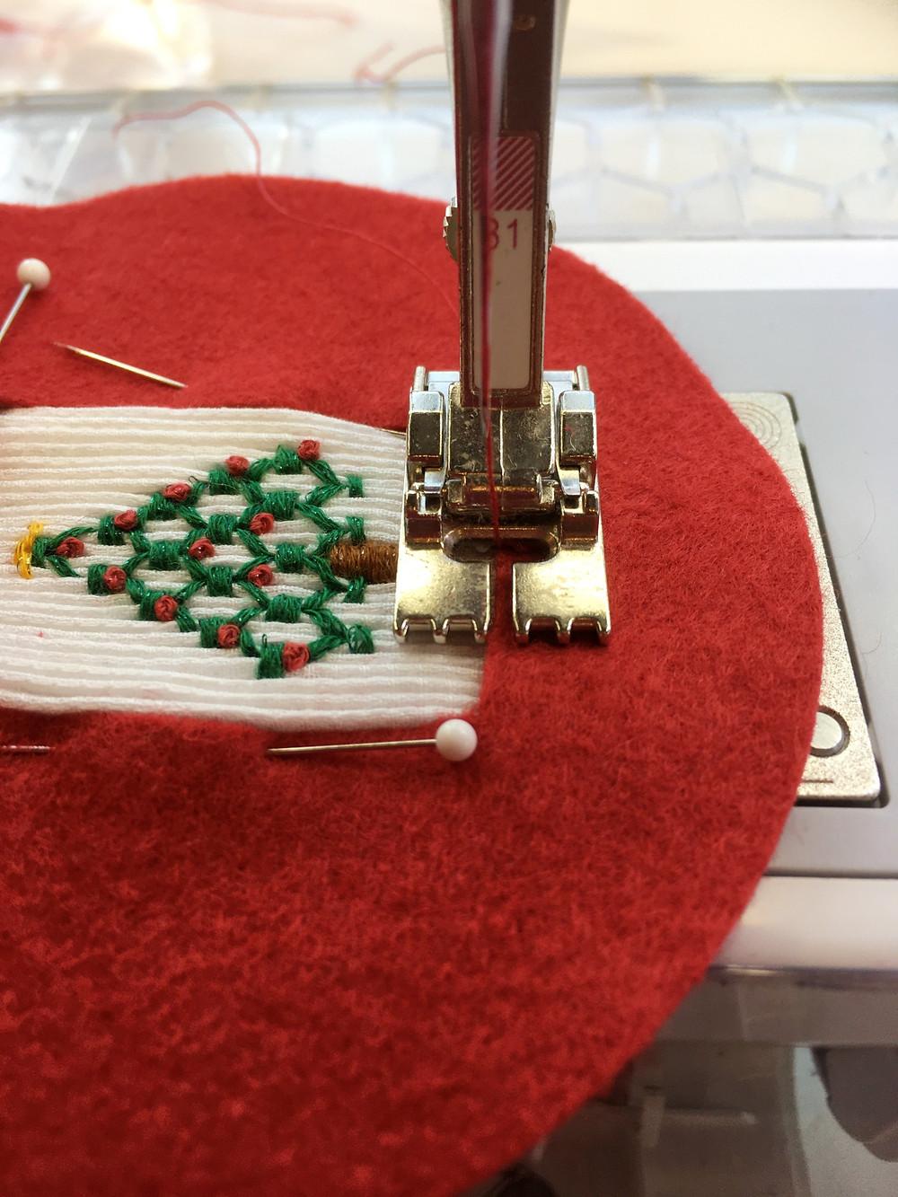 Stitching around the smocking
