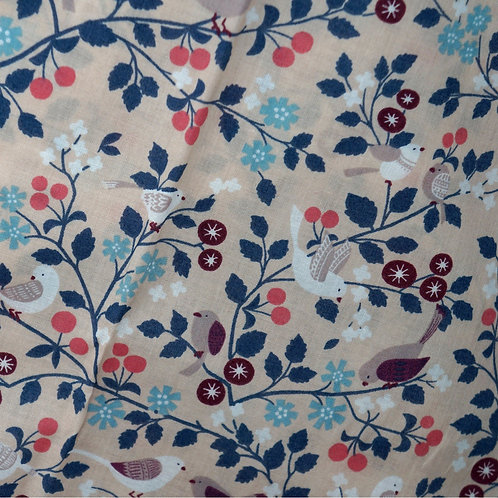 Les Oiseaux Peach Voile Fabric from France