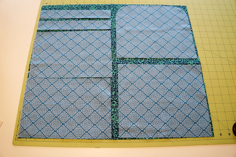 Pattern Pieces laid out on one fat quarter.