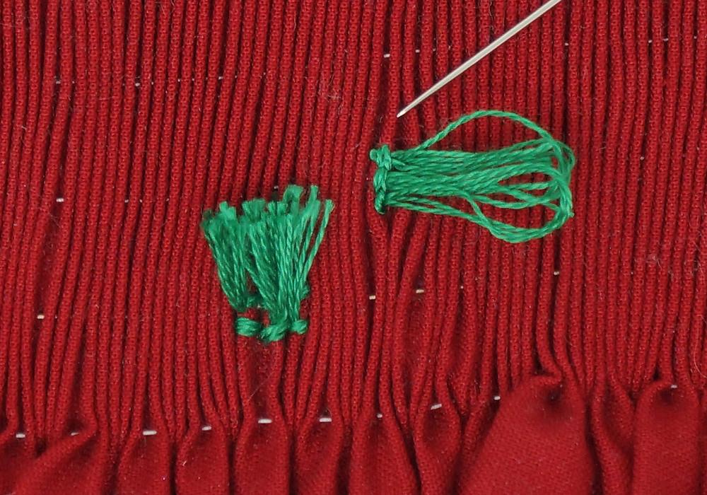 Turkey work stitched vertically