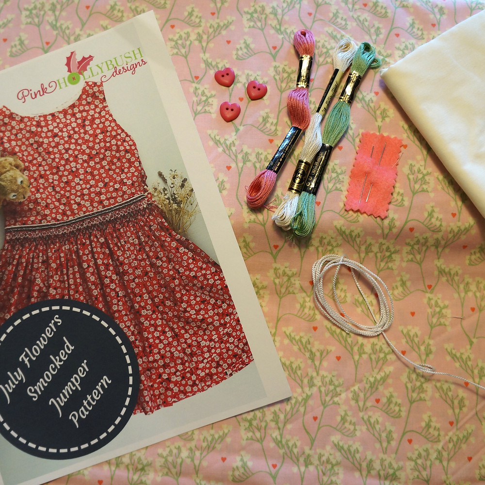 July Flowers Baby's Breath Smocked Dress Kit