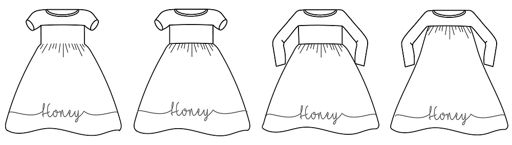 Drawings of Honey Knit Dress Pattern