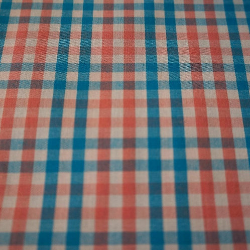 Coral and Teal Plaid Cotton Fabric