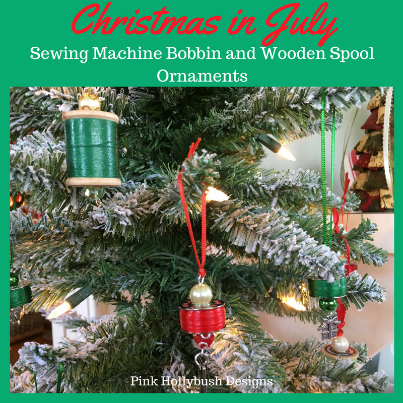 Sewing Machine Bobbin and Wooden Spool Ornaments
