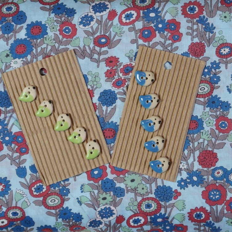 Birdy Buttons with Blue Garden Voile
