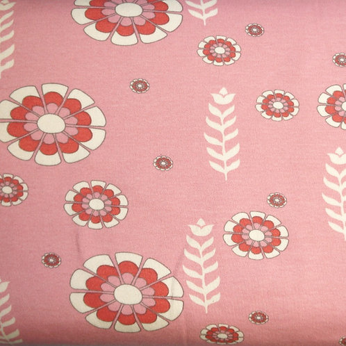 Woodcut Rose Organic Knit Fabric