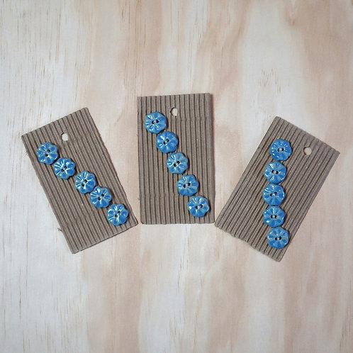Handmade blue flower buttons