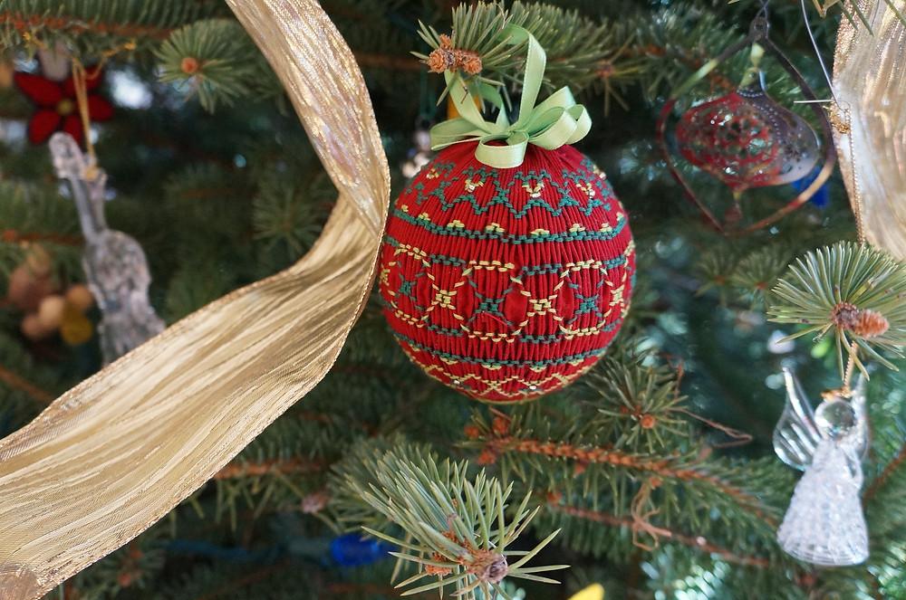 Smocked Ball Christmas Ornament