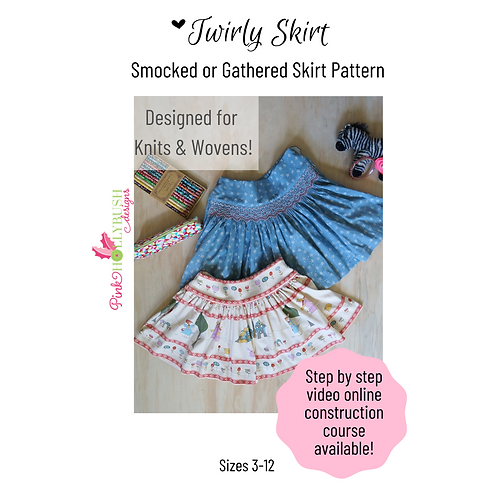 Twirly Skirt Smocked or Gathered Printed Pattern