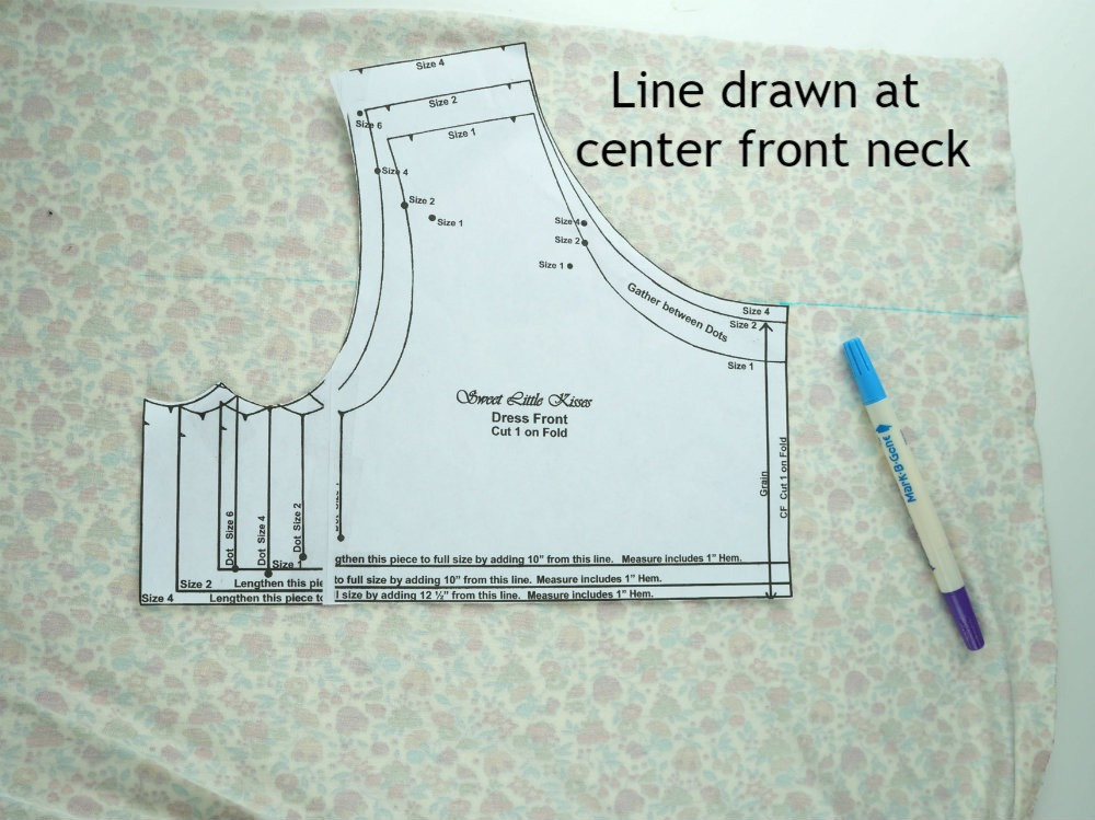 Line drawn at center front neck