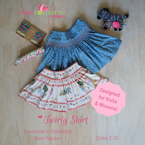 Twirly Skirt Smocked or Gathered PDF Pattern