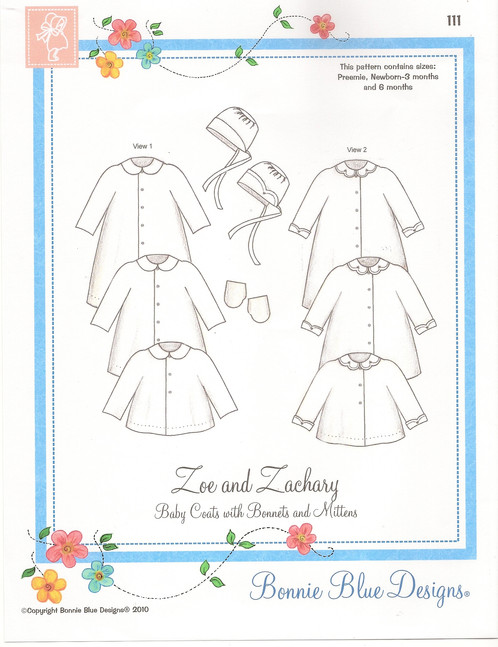 Zoe and Zachary Baby Coat Bonnet and Mitten Sewing Pattern | Pink ...