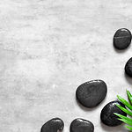 Grey spa background, palm leaves and bla