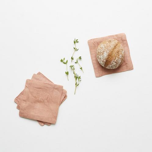Coaster aus Leinen mit Fransen , 4er Set, café creme