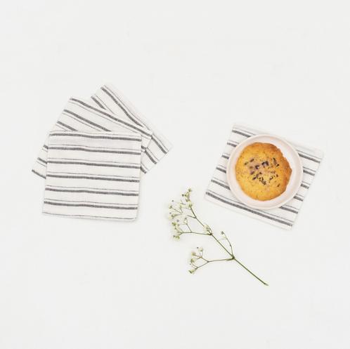 Coaster aus Leinen mit Fransen , 4er Set, grey stripes