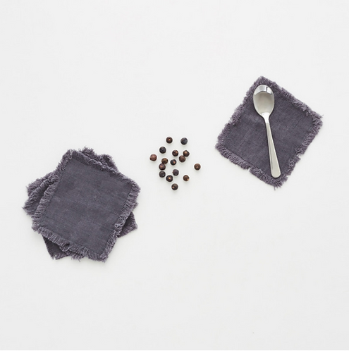 Coaster aus Leinen mit Fransen , 4er Set, dark grey