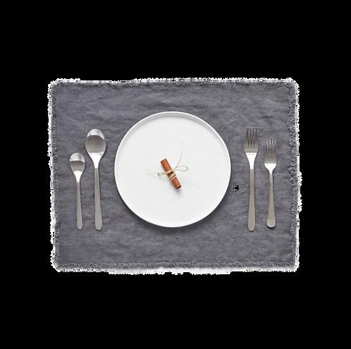 Tischset Leinen mit Fransen, dark grey