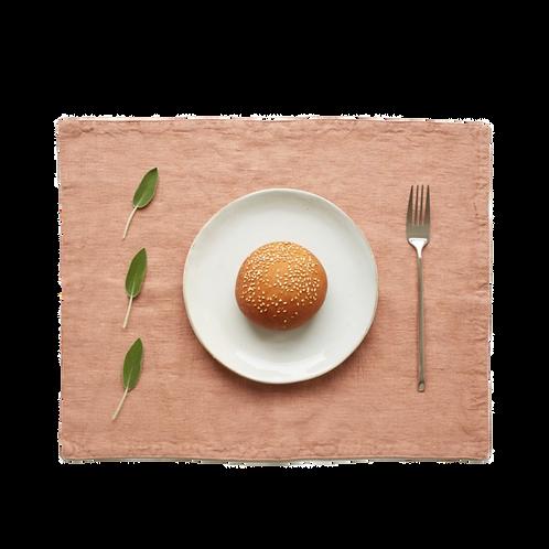 Tischset Leinen mit Fransen, café creme