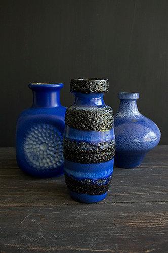 Fat Lava Vase blau-schwarz