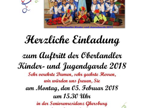 Einladung: Auftritt der Oberlander Kinder- und Jugendgarde!