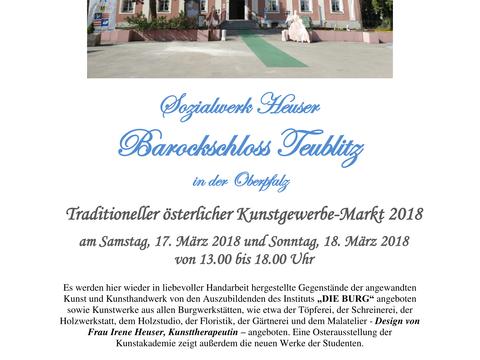 Einladung zum traditionellen österlichen Kunstgewerbe-Markt 2018 auf dem Barockschloss Teublitz