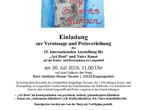 """Einladung zur Vernissage und Preisverleihung der 15. Internationalen Ausstellung für """"Art Brut&"""