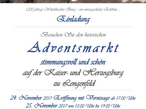 Einladung zum historischen und stimmungsvollen Adventsmarkt am Wochenende 24. - 26. November