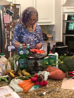 Preparing the watermelon lemonade