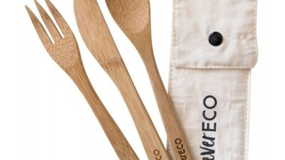 Bamboo cutlery set +organic cotton pouch