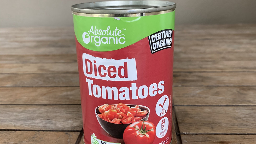 Tomatoes diced - certified organic tin 400g