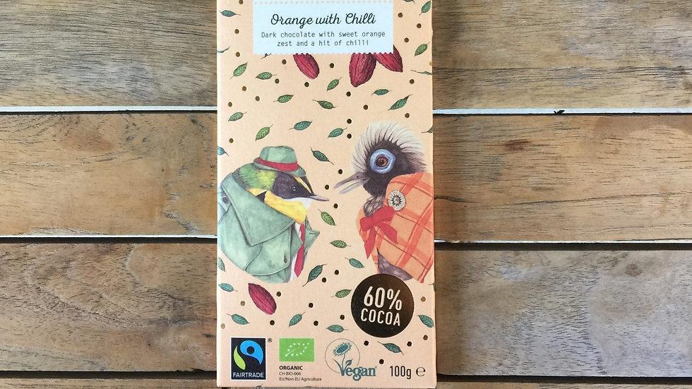 BENNETTO Chocolate Dark Orange with Chill - Organic Fairtrade - 100g