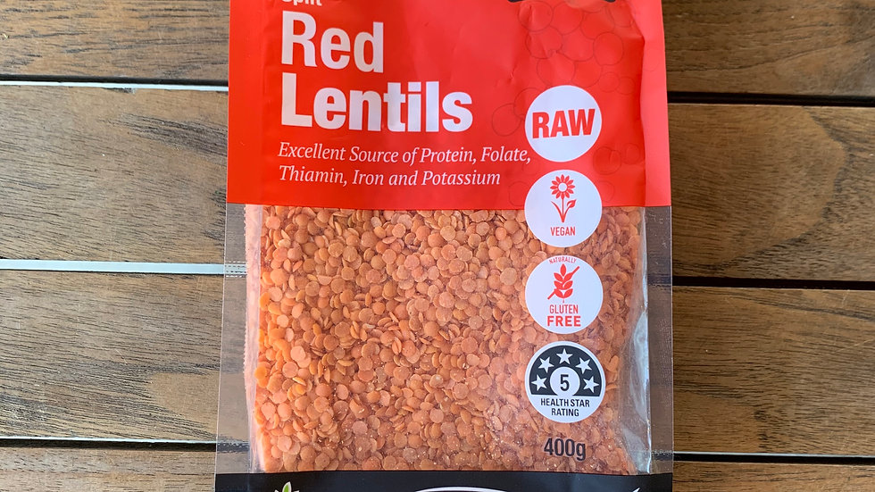 Lentils Split Red 400g Certified Organic