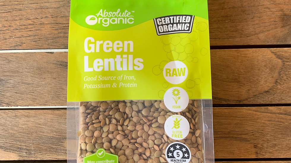 Lentils Green (Whole) 400g Certified Organic