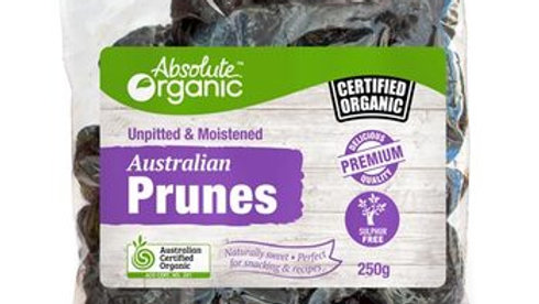 Prunes Unpitted 250g Absolute Organic ACO