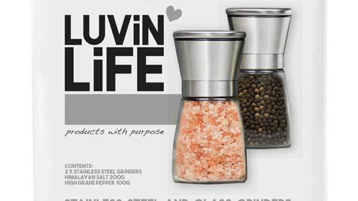 Glass & Stainless Steel Grinder Pack -with 200g Himalayan Salt & 100g Peppercorn