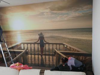 Murale soggiorno casa al mare