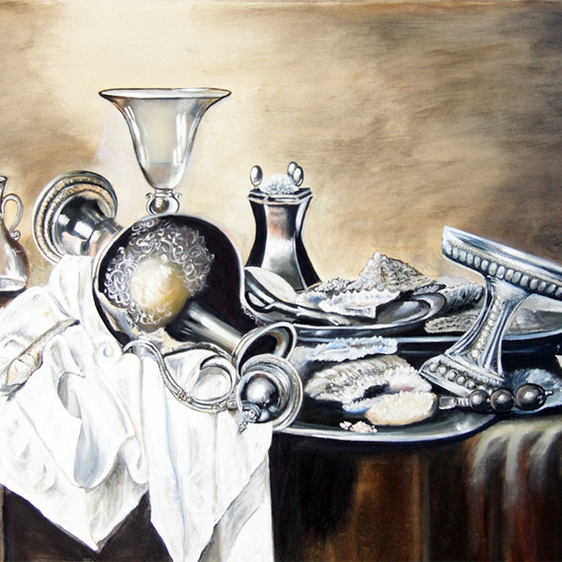 Still Life With Seafood And Silver Dishes