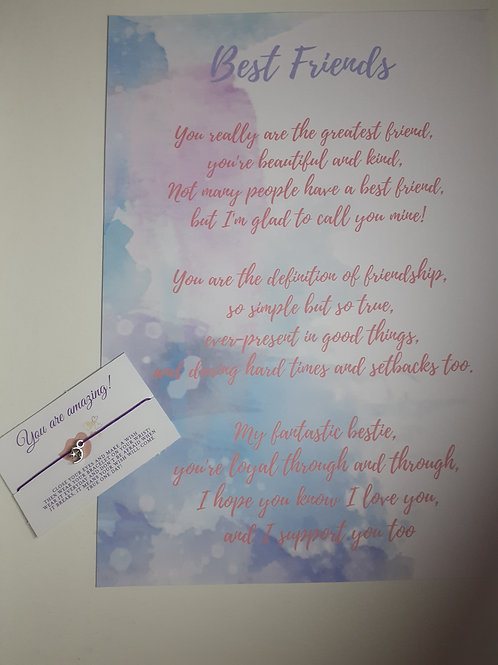 Best Friend Poem and Wish Bracelet