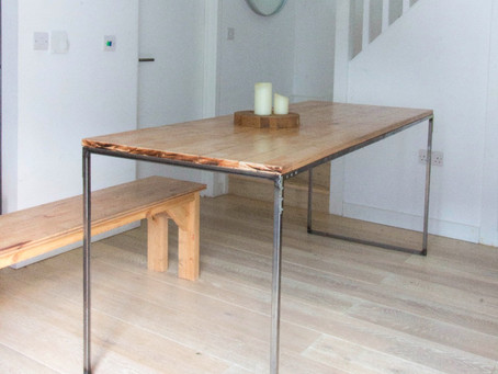 DIY project: build a dining table by welding a metal base and adding a wood top