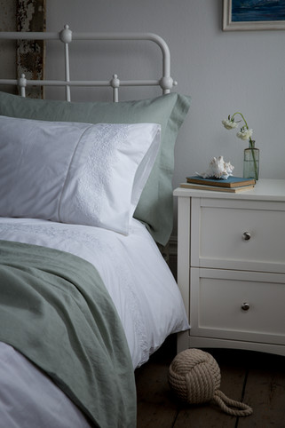 Seaside Bedroom with a pale blue scheme and shore inspiration