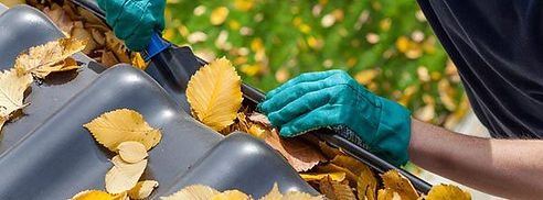 Professional cleaning leaves from gutter system