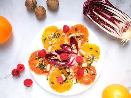 Insalata di arance, radicchio e lamponi