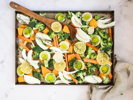 Verdure al forno con limone e timo fresco
