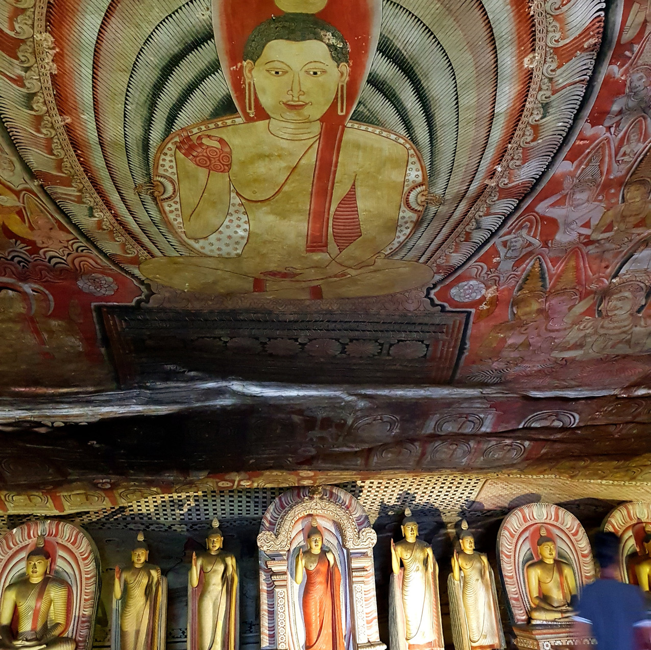 Colorful frescoes decorate the insides of the caves