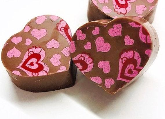 12 Caramel love hearts