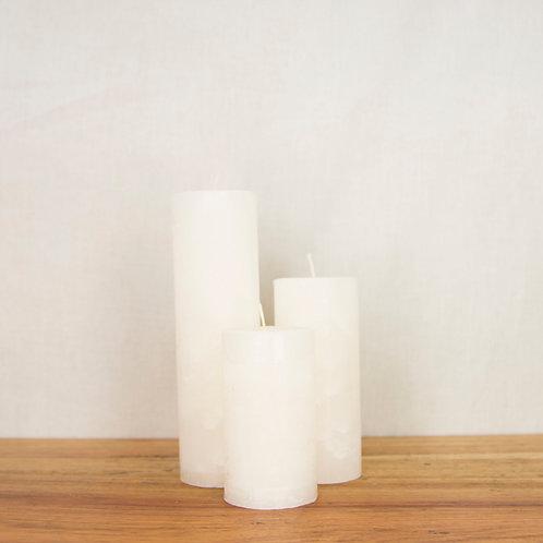 """Classic White Scented Pillar (Slim: 2"""" dia)"""