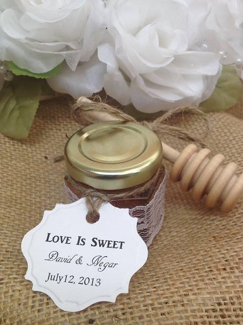 50 Qty Wedding Favors with Personalized Tag & Honey Dipper