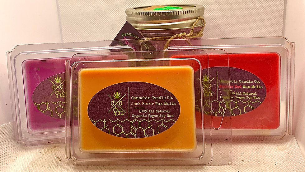 6 pack of cube wax melts -100% Organic Vegan Hand poured Soy Wax CBD infused