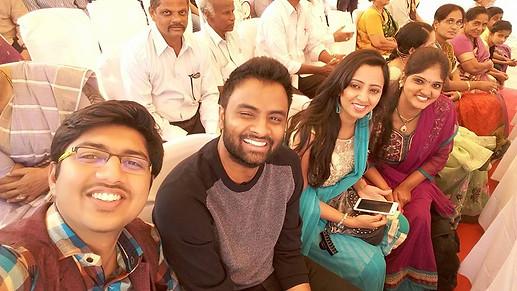 Selfie time with Hema Chandra, Malavika and Harini, Charan's partner.