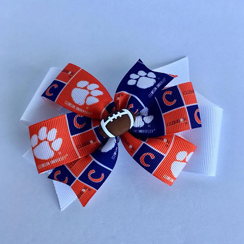 Clemson Tigers double pinwheel bow